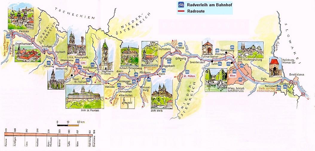 Donau Kaart Oostenrijk